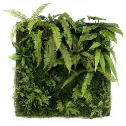 Väggpanel av mossa och växter, 100x100cm, konstgjord panel