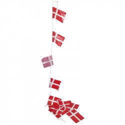 Flaggirlang i plast, 4 meter med 10 danska flaggor i A5