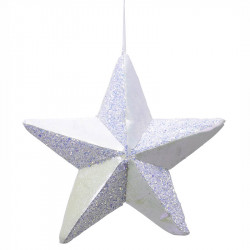Stjärna i hårdskum m hänge, vit, 22x22cm