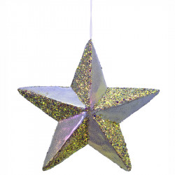 Stjärna i hårdskum m hänge, lila glans, 22x22cm