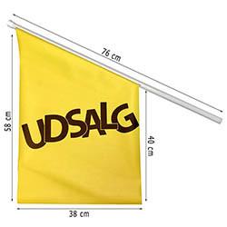 """Facadeflag """"Udsalg"""" inkl. stang"""