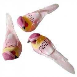 Fåglar med clips, ljusrosa, 10,5 cm, 3 st per förpackning.
