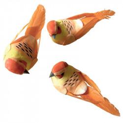 Fåglar med clips, orangea, 10,5 cm, 3 st per förpackning.