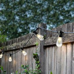 Lyskæde med 20 aflange LED pærer, 5m forsyn, til udendørs