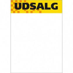 Skilte udsalg, med gul top A5, 50 stk/pakke