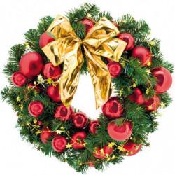 Grankrans med julekugler og sløjfe