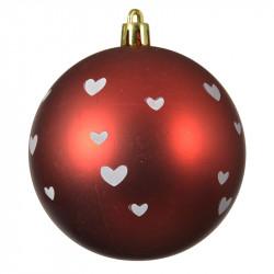 Julekugle rød m hjerter, mat, 8cm