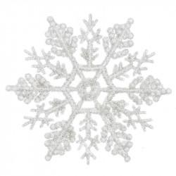 Snefnug m ophæng, 12stk, glitter / hvid