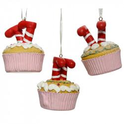 Juletræspynt, cubcake m nisseben og glitter, assorteret