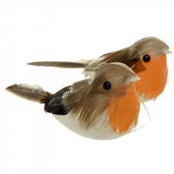 Fugle på klips, 2stk, 15cm, kunstig fugl