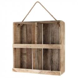 Træ kasse m reb til ophæng, genbrugstræ 2 hylder, 59cm