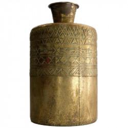 Vase i metal m mønster, antik guld look, 38cm
