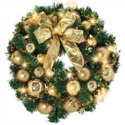 Grankrans m lys, julekugler og sløjfe, dekoreret