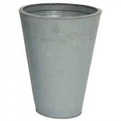 Zink krukke, rund, grå, 40cm