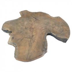 Træskive i teak til dekoration Ø:35-45cm