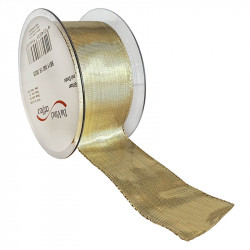 Dekorationsband med kanttråd - 40mm, Guld