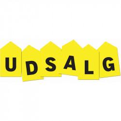 Skiltesæt ( U D S A L G ), 6 løse skilte med hver sit bogstav og hul