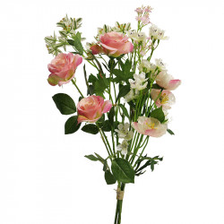 Sommerbuket, 52cm,lyserøde /creme blomster, kunstig blomst