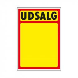 """Skilte """"Udsalg"""" med rød kant A5, 50 stk/pakke"""