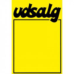 """Skilte """"Udsalg""""med fed skrift A7, 50 stk/pakke"""