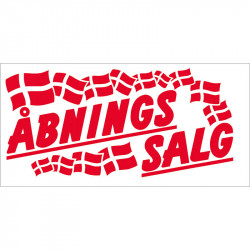 """Plakat """"Åbningssalg"""" med flag"""
