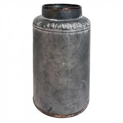 Vase i zink, Ø16cm, lys grå