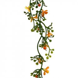 Mini blomster ranke, lys orange/grøn, 86cm, kunstig blomst