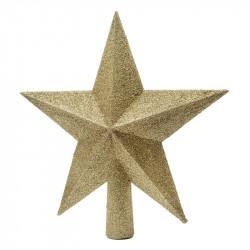 Topstjerne med glimmer, 19cm Guld