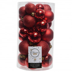 Julekugler, Rød mix, 4-6cm, 30stk./pakke