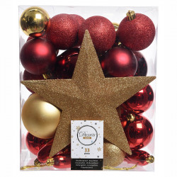 Julekugle mix m Stjerne.Rød, Guld