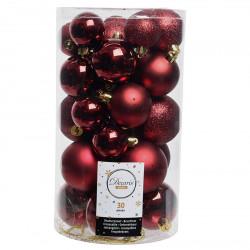 Julekugler, Bordeaux mix, 4-6cm, 30stk./pakke