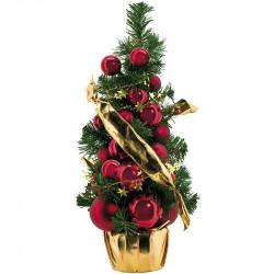 Juletræ med kugler og bånd, kunstigt juletræ