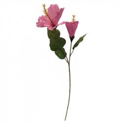 Hibiscus / Hawaii blomst, 74cm, lyserød, kunstig blomst