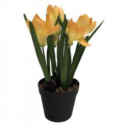 Krokus i kruka, gul 24 cm, konstgjord blomma