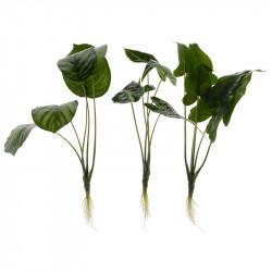 Grøn plante m.rod/store blade, 3 ass designs, kunstig plante