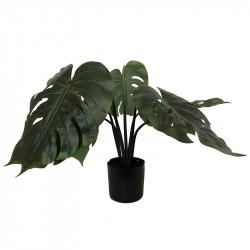 Monstera plante i sort potte, 60cm, 8 blade, kunstig plante