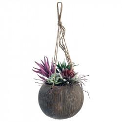 Sukkulenter i hænge krukke med snor, 20cm, kunstig plante