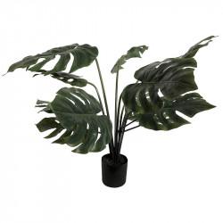 Monstera plante i sort potte, 80cm, 12 blade, kunstig plante