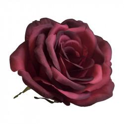 Rosenhoved på ståltråd, Rød, Ø 10cm, kunstig blomst