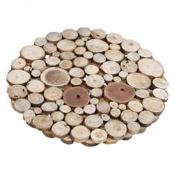 Trämatta, Ø: 40 cm med små träbitar