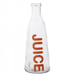 Glasflaska med text: JUICE