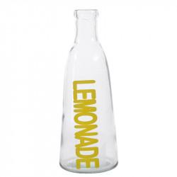 Glasflaske med tekst: LEMONADE