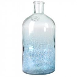 Flaske vase i oxideret glas, lys blå, H28cm