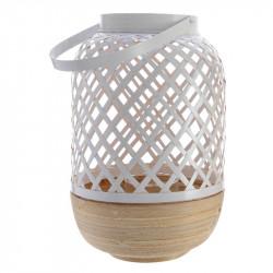 Bambulykta, 30 cm med hålmönster och handtag, Vit