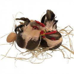 2 Höns på bast med 3 ägg, brun-grå