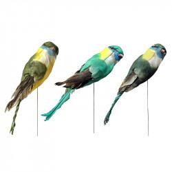 Fugl på pind, 22cm i 3 ass farver, kunstig dyr