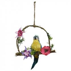 Papegøje på gynge, blå, 45cm