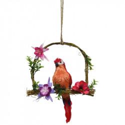 Papegøje på gynge, rød, 45cm