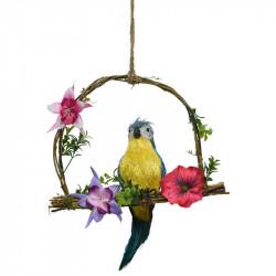 Papegøje på gynge, blå, 28cm