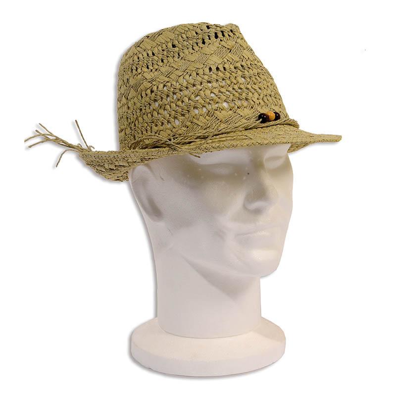 Stråhatt med pärlpynt / Sommarhatt, Ø 27 cm Sandfärgad